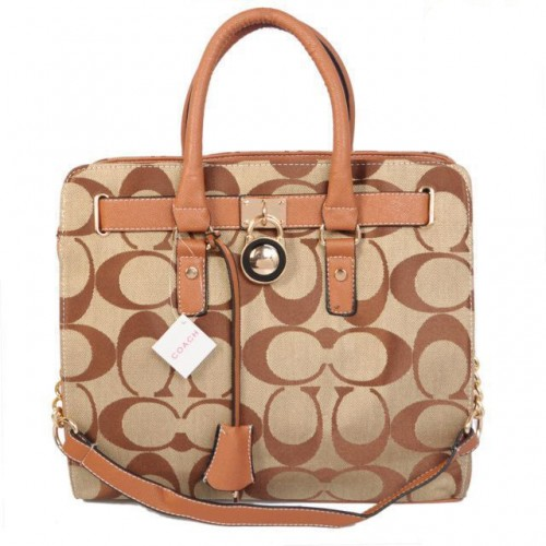 Coach Lock Medium Khaki Totes AOL