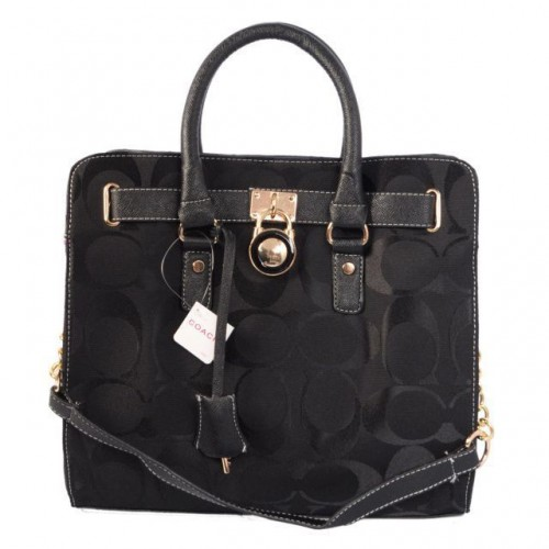 Coach Lock Medium Black Totes AOO