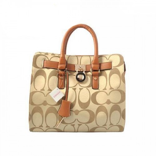 Coach Lock Medium Khaki Totes AOP