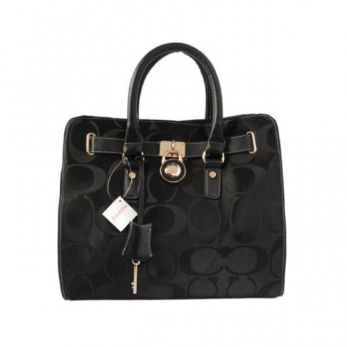 Coach Lock Medium Black Totes AOS