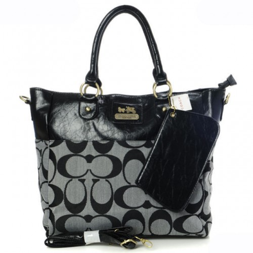 Coach In Signature Medium Black Totes AOY