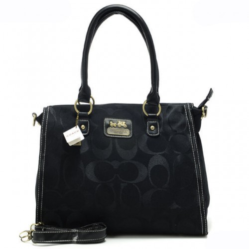 Coach Top Zip In Signature Large Black Satchels APA