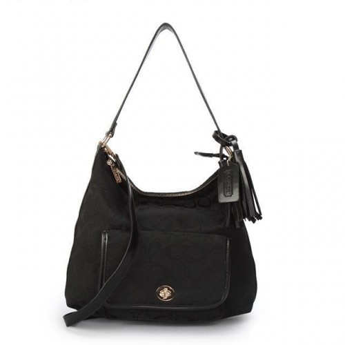 Coach Kristin In Signature Medium Black Shoulder Bags APL
