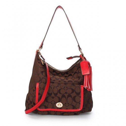 Coach Kristin In Signature Medium Coffee Shoulder Bags APN