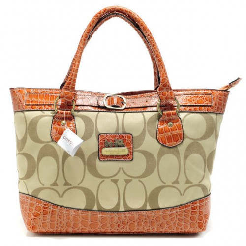 Coach Madison In Signature Medium Khaki Totes APP