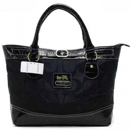 Coach Madison In Signature Medium Black Totes APS