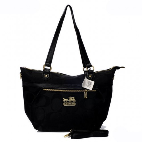 Coach In Signature Small Black Totes AQE