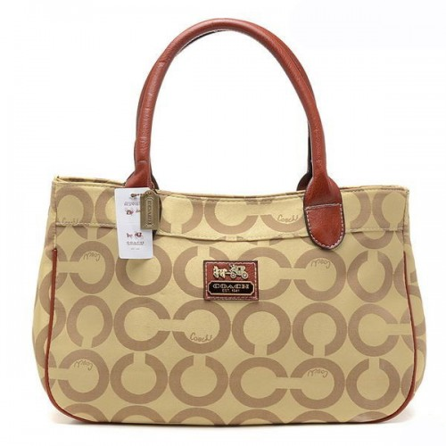 Coach In Signature Large Khaki Satchels AQF
