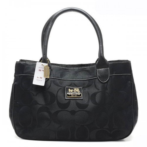 Coach In Signature Large Black Satchels AQI