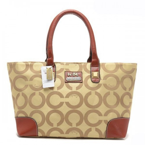Coach Madison In Signature Large Khaki Totes AQJ