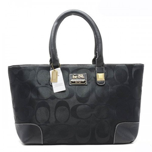 Coach Madison In Signature Large Black Totes AQM