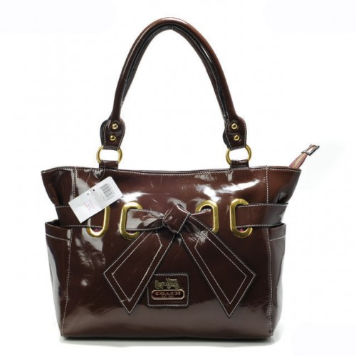 Coach Poppy Bowknot Smooth Medium Coffee Totes AQS