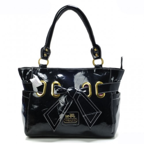 Coach Poppy Bowknot Smooth Medium Black Totes AQU