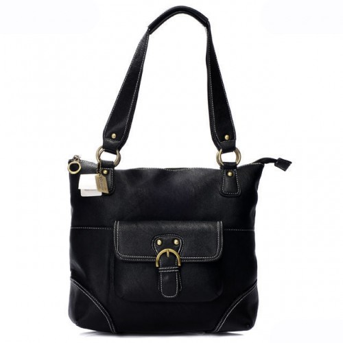 Coach Logo Medium Black Totes AQV