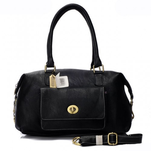 Coach Madeline East West Medium Black Satchels AQZ