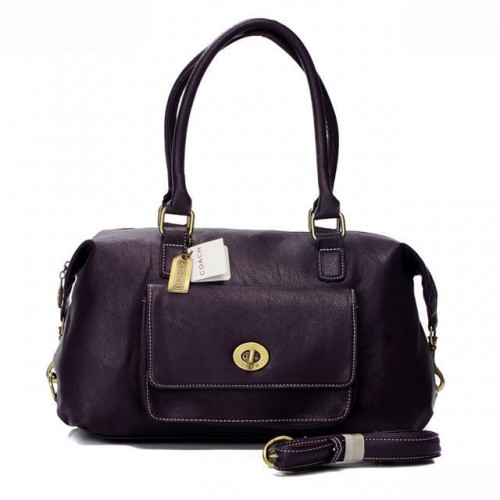 Coach Madeline East West Medium Purple Satchels ARA