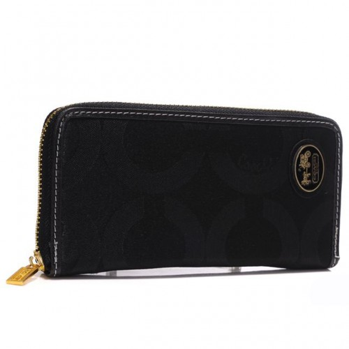 Coach Big Logo Large Black Wallets ARI