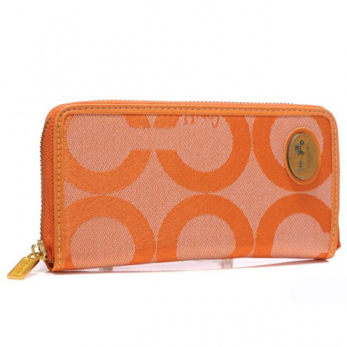 Coach Big Logo Large Orange Wallets ARK