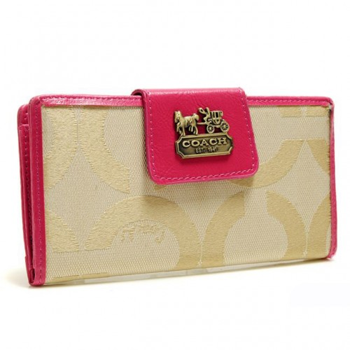 Coach In Signature Large Fuchsia Wallets ARP
