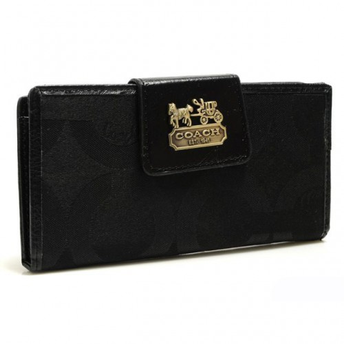 Coach In Signature Large Black Wallets ARQ