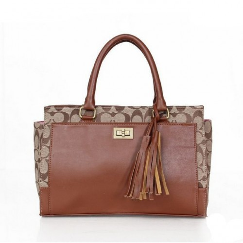 Coach Legacy Turnlock In Signature Medium Brown Satchels ASI