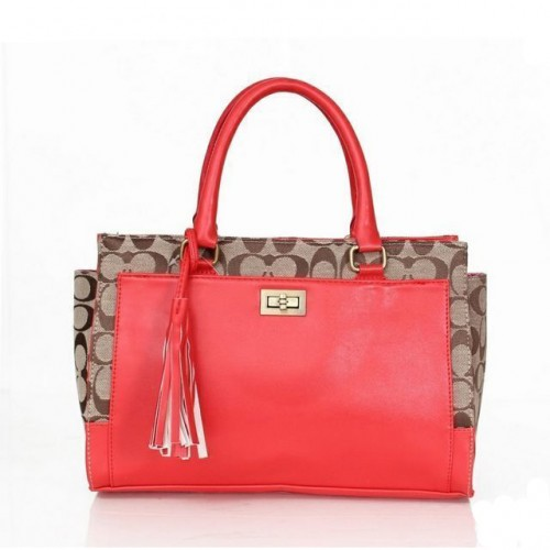 Coach Legacy Turnlock In Signature Medium Red Satchels ASK