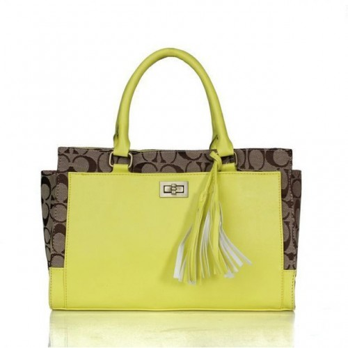 Coach Legacy Turnlock In Signature Medium Yellow Satchels ASL