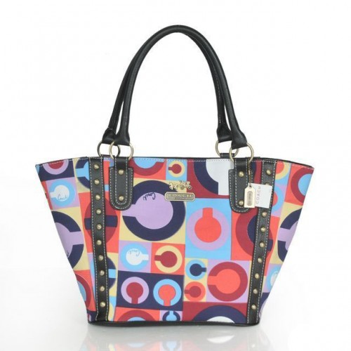 Coach Poppy Stud Medium Multicolor Totes ASR