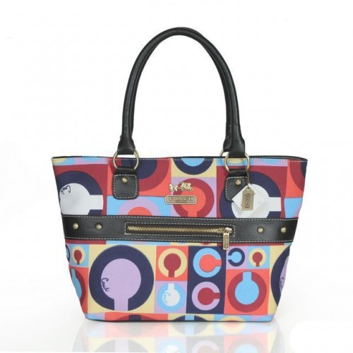 Coach Poppy Stud Medium Multicolor Totes ASV