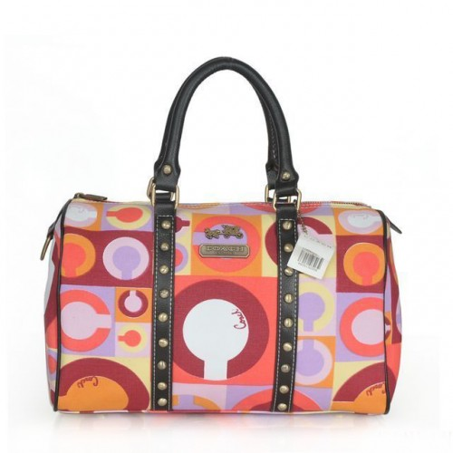 Coach Poppy Stud Medium Multicolor Luggage Bags ASY
