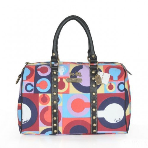 Coach Poppy Stud Medium Multicolor Luggage Bags ASZ