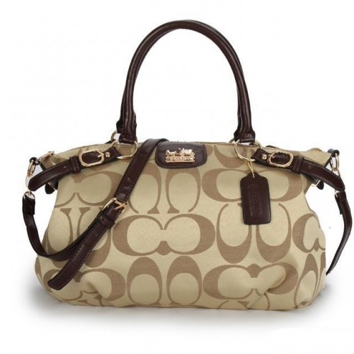 Coach Madison Kelsey In Signature Medium Khaki Satchels ATH