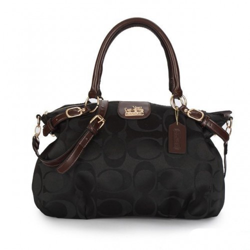 Coach Madison Kelsey In Signature Medium Black Satchels ATK