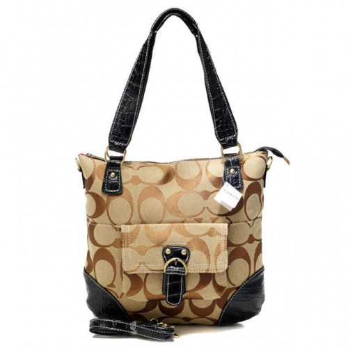 Coach In Signature Medium Khaki Totes ATU