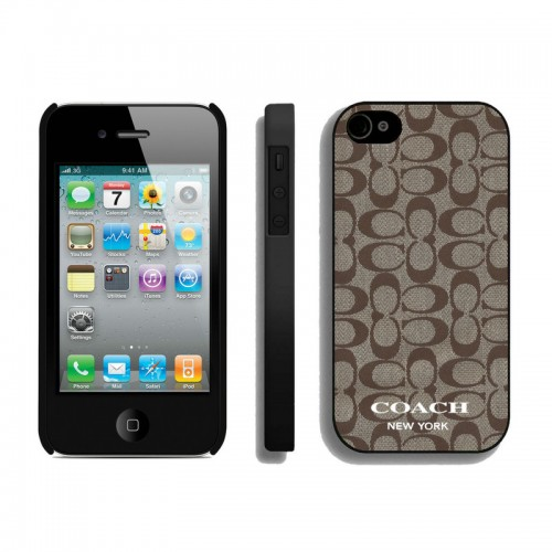 Coach Logo Signature Beige iPhone 4 4S Cases AUF