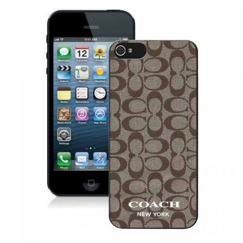 Coach Logo Signature Beige iPhone 5 5S Cases AUL