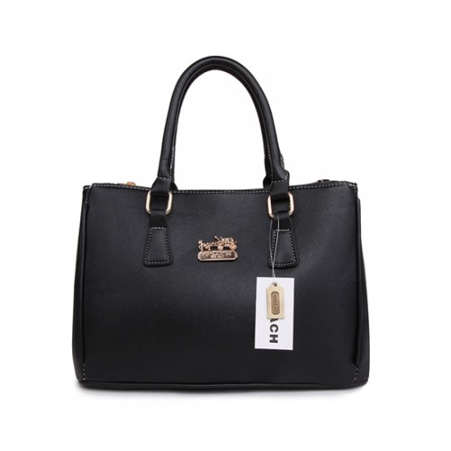 Coach In Saffiano Medium Black Satchels AVX