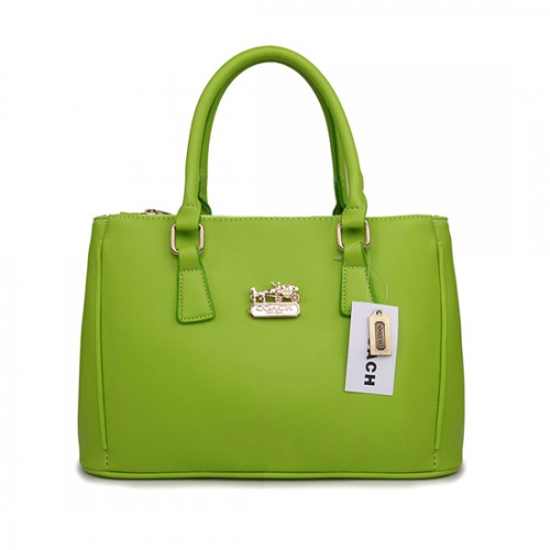 Coach In Saffiano Medium Green Satchels AVZ
