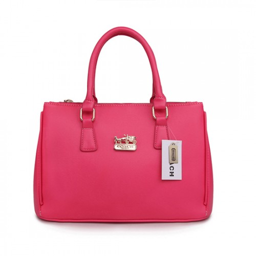 Coach In Saffiano Medium Fuchsia Satchels AWA