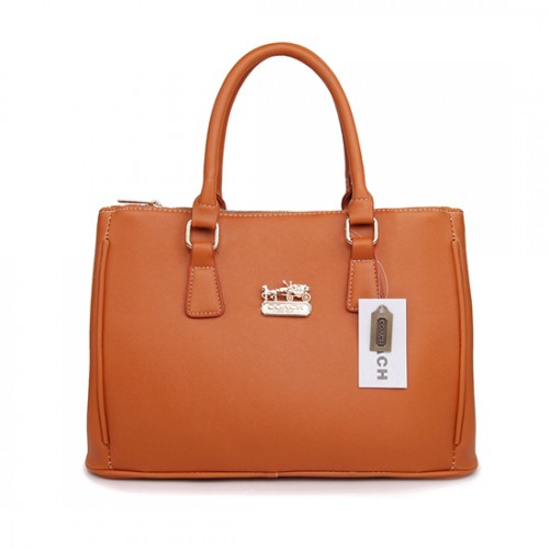 Coach In Saffiano Medium Camel Satchels AWB
