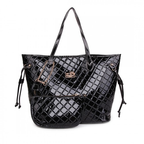 Coach Rhombus Medium Black Totes AWH