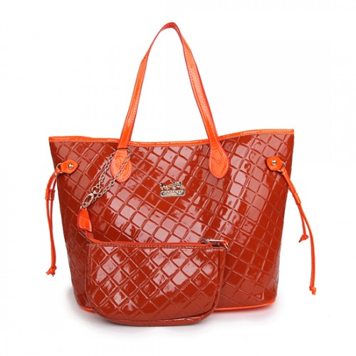 Coach Rhombus Medium Orange Totes AWK