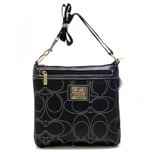 Coach Swingpack In Signature Medium Black Crossbody Bags AWW