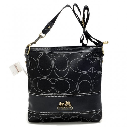 Coach Swingpack In Signature Medium Black Crossbody Bags AXC