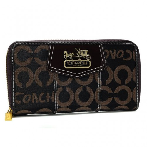 Coach In Signature Large Coffee Wallets AXN