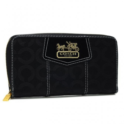 Coach In Signature Large Black Wallets AXO