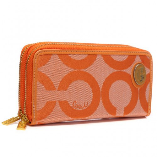 Coach Big Logo Large Orange Wallets AXY