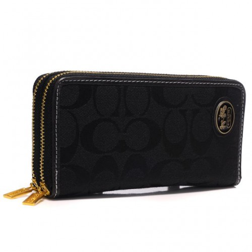 Coach Logo Large Black Wallets AYB