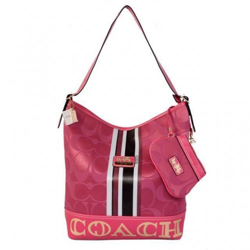 Coach In Signature Medium Fuchsia Shoulder Bags AYI