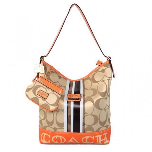 Coach In Signature Medium Khaki Shoulder Bags AYL